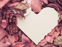 Papier de coeur avec la fleur sèche rouge Photos libres de droits