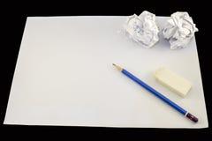 Papier de dessin avec le crayon Photographie stock libre de droits