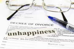 Papier de divorce Images libres de droits