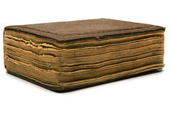 Papier de jaune de couverture de vieux livre au-dessus du fond blanc Photos stock