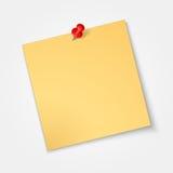 Papier de note, autocollant avec la goupille rouge d'isolement Image stock