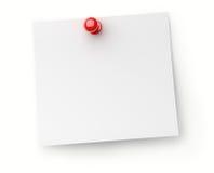 Papier de note avec la broche rouge de poussée Photographie stock