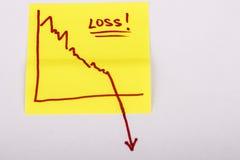 Papier de note avec le graphique de gestion de finances allant vers le bas - perte Photo libre de droits