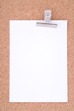 Papier de note avec le trombone sur la surface de liège Photo libre de droits
