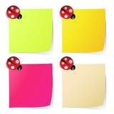 Papier de note blanc dans quatre couleurs avec la coccinelle Images stock