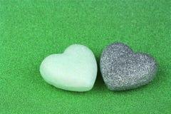 Papier et coeur verts brillants de scintillement Photographie stock libre de droits