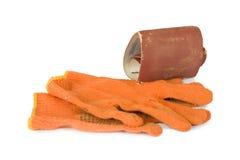 Papier et gants d'émeri Image stock