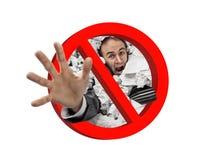 Papier et signe rouge interdit par travail Image stock