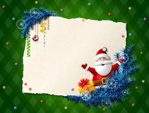 Papier für Weihnachtsliste mit Santa Claus und Geschenk Stockfoto