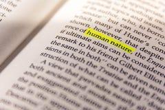 Papier fluorescent jaune vieux Keywor de marqueur de Word accentué par livre Photo stock