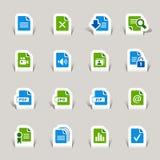 Papier geschnitten - Dateiformatikonen Stockfotografie
