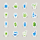 Papier geschnitten - Getränk-Ikonen Lizenzfreie Stockbilder