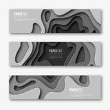 Papier geschnittene horizontale Fahnen 3d Formen mit Schatten in der unterschiedlichen grauen Farbe tont Papercraft überlagerte K Lizenzfreies Stockbild