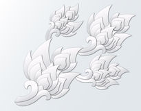Papier geschnittene thailändische Gestaltungselemente Lizenzfreies Stockfoto