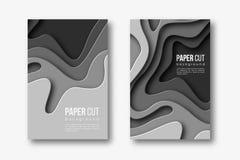 Papier geschnittene vertikale Fahnen 3d Formen mit Schatten in der unterschiedlichen grauen Farbe tont Papercraft überlagerte Kun Stockbilder
