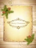 Papier grunge de cru avec des salutations de Noël Photographie stock libre de droits