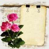 Papier grunge sur la vieille corde avec des roses Photo libre de droits