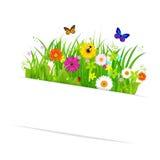 Papier klebrig mit Gras und Blumen Stockfotografie