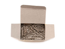 Papier-klemmen in doos. Stock Fotografie