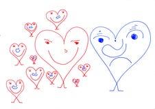 Papier-Leute - Valentinsgrußtagesüberraschung Lizenzfreie Stockfotografie
