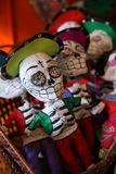 Papier Mache Day of the Dead skulls and rattles Royalty Free Stock Photos