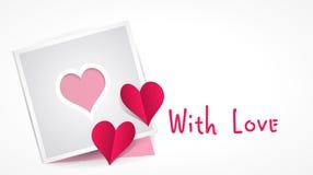Papier matrycuje serce i dwa czerwieni papierowego serca Zdjęcia Stock