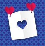 Papier matrycuje serce i dwa czerwieni papierowego serca Zdjęcie Stock