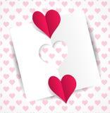 Papier matrycuje serce i dwa czerwieni papierowego serca Obrazy Stock