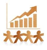 Papier-Mensch mit Diagrammen mit Pfeil Wachstum oben Stockfoto