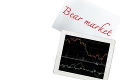 Papier mit Baissemarkttext und -tablette mit Diagramm wird an lokalisiert lizenzfreie stockfotografie