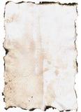 Papier mit gebrannten Rändern Lizenzfreie Stockfotos