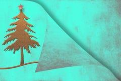 Papier parcheminé avec la carte de voeux d'arbre de Noël Image libre de droits
