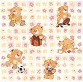 Papier peint avec les petits animaux d'ours bourrés Photographie stock libre de droits