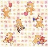 Papier peint avec les petits animaux d'ours bourrés Images libres de droits