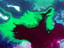 Papier peint brouillé lumineux d'été de tache de débordement de vague de mer de main texturisée de décoration de fond d'abrégé su Photo stock