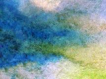 Papier peint brouillé lumineux de tache de débordement de main texturisée de décoration de fond d'aquarelle de ciel de lever de s Images stock
