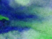Papier peint brouillé lumineux de tache de débordement de main texturisée de décoration de fond d'aquarelle de ciel de lever de s Photos stock
