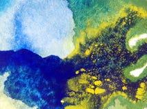 Papier peint brouillé lumineux de tache de débordement de main texturisée de décoration de fond d'aquarelle du monde sous-marin a Photo stock