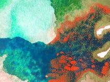 Papier peint brouillé lumineux de tache de débordement de main texturisée de décoration de fond d'aquarelle du monde sous-marin a Photos stock