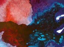 Papier peint brouillé lumineux de tache de débordement de main texturisée de décoration de fond d'aquarelle du monde sous-marin a Image libre de droits