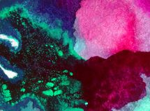 Papier peint brouillé lumineux de tache de débordement de main texturisée de décoration de fond d'aquarelle du monde sous-marin a Images libres de droits