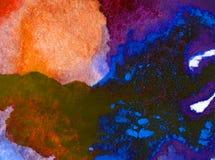 Papier peint brouillé lumineux de tache de débordement de main texturisée de décoration de fond d'aquarelle du monde sous-marin a Photos libres de droits