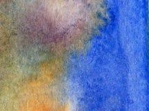 Papier peint brouillé lumineux de tache de débordement de main texturisée de décoration de l'eau de côte de fond d'abrégé sur art Images stock