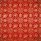 Papier peint chinois sans couture de damassé de vintage Photos stock