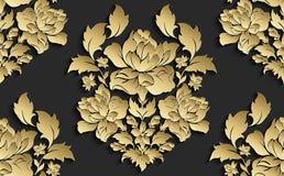 Papier peint dans le style du baroque Modèle floral sans couture de damassé de vecteur Ornement de Rose Images libres de droits