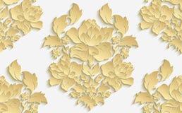 Papier peint dans le style du baroque Modèle floral sans couture de damassé de vecteur Ornement de Rose Images stock