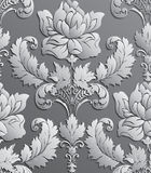 Papier peint dans le style du baroque Modèle floral sans couture de damassé de vecteur Ornement de Rose Photo libre de droits
