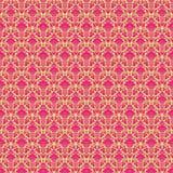 Papier peint de damassé de Paisley de cru de rose chaud et de vert Images stock