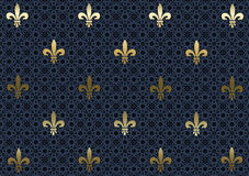 Papier peint de fond de Dark-blue Fleur de Lis illustration stock