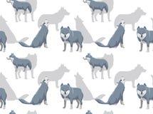 Papier peint de Grey Wolf Cartoon White Background Seamless Photographie stock